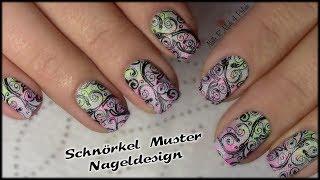 schnrkel muster stamping nageldesign ngel lackieren flourish nail art tutorial - Nagel Lackieren Muster