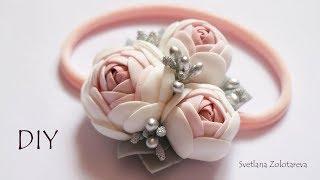 Повязка для девочки с розами из фоамирана