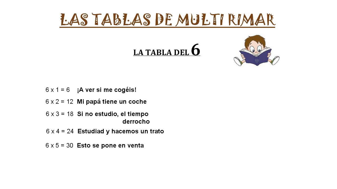 La tabla de Multi Rimar del 6