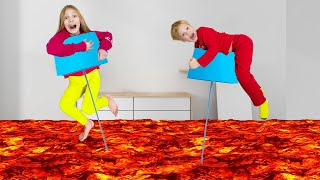 Amelia and Akim in the floor is lava challenge