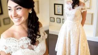 Short Beach Wedding Dresses A Line Off Shoulder Tea Length Full Lace Bridal Gown $173