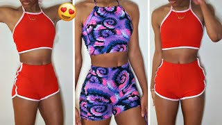 Diy Two Piece Swimsuit~Two Piece Halter Top And Shorts Set | Diy Swimsuit Set Tutorial-Summer Outfit