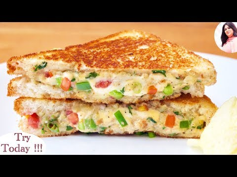 Best Cheesy Veg Sandwich Recipe, Cheese Sandwich, breakfast recipe, lunchbox recipe for kids
