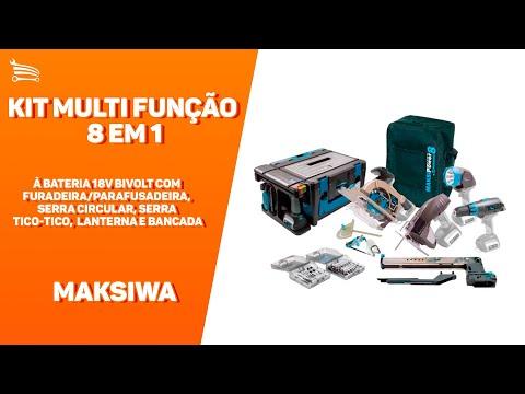 Kit Multi Função Maksipower 8  à Bateria 18V Bivolt com Furadeira/Parafusadeira, Serra Circular, Serra Tico-Tico, Lanterna e Bancada - Video