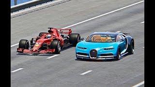 Ferrari F1 2018 vs Bugatti Chiron - TOP SPEED BATTLE