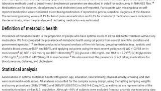 Prevalence of Optimal Metabolic Health in American Adults: National Health and Nutrition Examination