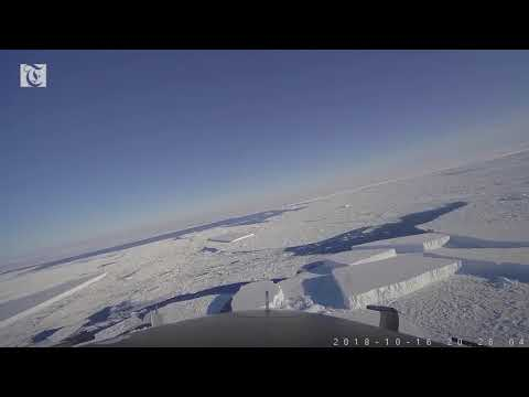 Flight over a rectangular Iceberg in the Antarctic