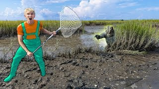 SEARCHING for POND MONSTER USING SPY GADGETS!! (Located Giant Nest in Swamp)
