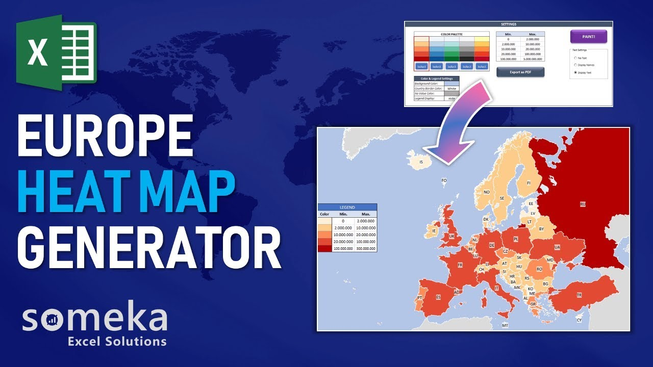 Europe Geographic Heat Map Generator - Someka Excel Template Video