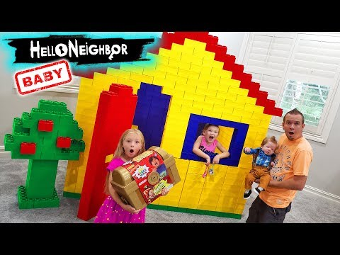 Baby Hello Neighbor in Real Life! Toy Scavenger Hunt for Ryan's World Abandoned Treasure Chest!