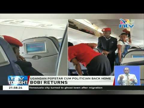 Uganda pop-star cum politician Bobby Wine back home