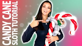 Peppermint Sloth On A Candy Cane Balloon Animal Tutorial!