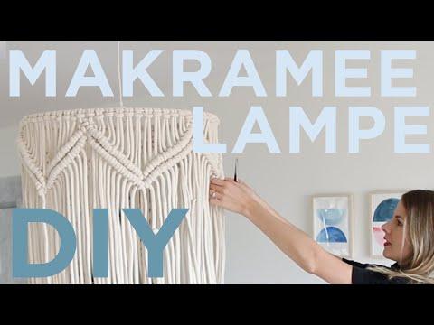 DIY Makramee Lampe - DIY Hack mit IKEA Lampenschirm - Schlingknoten Zickzack Makrameemuster