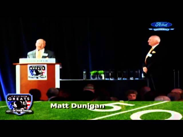 Matt Dunigan is inducted into the 2014 GGAF HOF at Ford Field