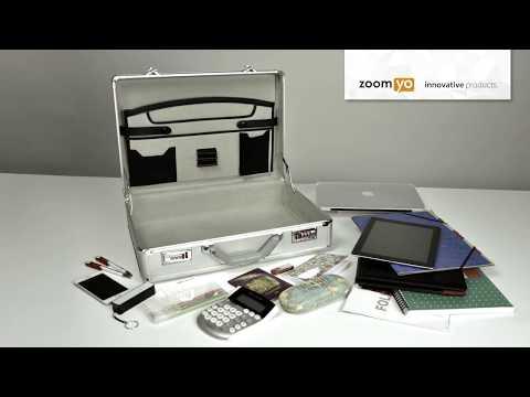 zoomyo Aluminium Aktenkoffer | Tablet und Laptop kompatibel | Inklusive Organizerbereich