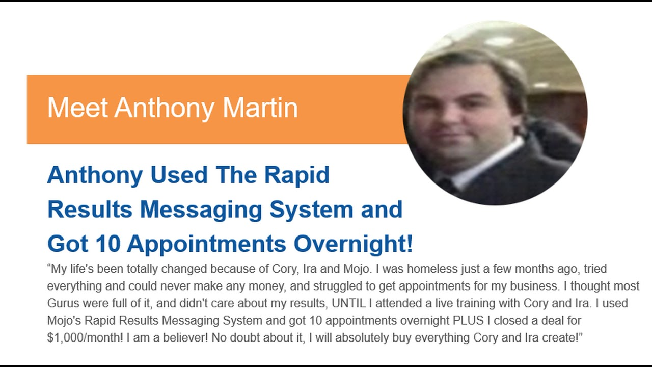 How Anthony got 10 Appointments Overnight By Using The Rapid Results Messaging System!
