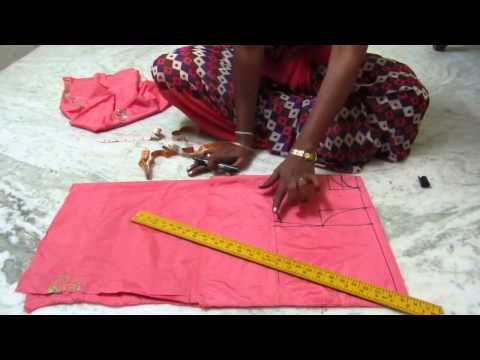 Umbrella frock cutting with measurements in Telugu