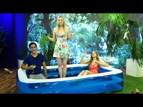 Jumbo-Planschbecken, aufblasbarer Pool, 242 x 155 x 51 cm mit Jana Hartmann bei PEARL TV
