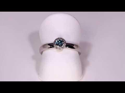 Blue Hue Enhanced Diamond Ring Designed By Christopher Michael
