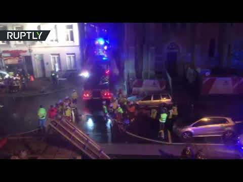 Huge explosion brings down building in Antwerp, Belgium