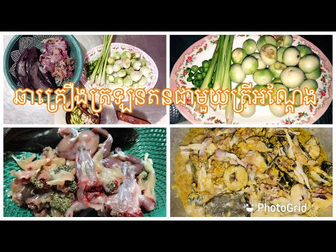 fry spices with frogs and fish-My Food My Cooking Recipe-Cooking Khmer Traditional Fry Spices
