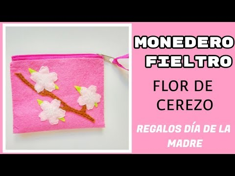 Monedero Flor de Cerezo en Fieltro Paso a Paso-Ideas Día de la Madre - YouTube