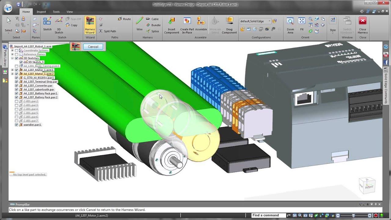 Vorschaubild: Solid Edge ST8: Einfachere und schnellere Verkabelung