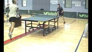 Backhand counter attacks played with Feint OX long pip rubber