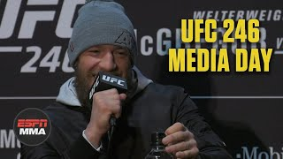 Order UFC 246 here on ESPN https://plus.espn.com/ufc/ppv.  At UFC 246 Media Day, Conor McGregor answers questions from reporters about if he's playing mind games with Donald Cerrone, his interest in fighting both Tony Ferguson and Khabib Nurmagomedov in the future, dealing with his fame, and when he would want to box next.  #UFC246 #ESPNMMA #McGregor ✔ For more UFC, sign up for ESPN+ https://plus.espn.com/ufc ✔ Get the ESPN App: http://www.espn.com/espn/apps/espn ✔ Subscribe to ESPN on YouTube: http://es.pn/SUBSCRIBEtoYOUTUBE ✔ Subscribe to ESPN FC on YouTube: http://bit.ly/SUBSCRIBEtoESPNFC ✔ Subscribe to NBA on ESPN on YouTube: http://bit.ly/SUBSCRIBEtoNBAonESPN ✔ Watch ESPN on YouTube TV: http://es.pn/YouTubeTV  ESPN on Social Media: ► Follow on Twitter: http://www.twitter.com/espn ► Like on Facebook: http://www.facebook.com/espn ► Follow on Instagram: http://www.instagram.com/espn  Visit ESPN on YouTube to get up-to-the-minute sports news coverage, scores, highlights and commentary for NFL, NHL, MLB, NBA, College Football, NCAA Basketball, soccer and more.   More on ESPN.com: http://www.espn.com