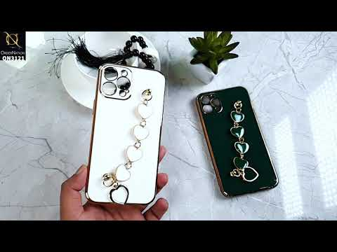 iPhone 12 Pro Max Cover - White - Electroplating Shiny Soft TPU Case with Love Heart Chain Bracelet Holder