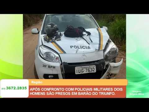 APÓS CONFRONTO COM POLICIAIS MILITARES DOIS HOMENS SÃO PRESOS EM BARÃO DO TRIUNFO.