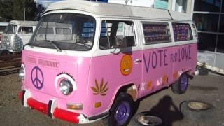 Pink Volkswagen Bus - Not Too Shabby!