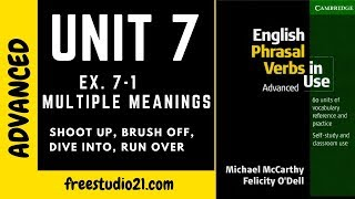 English Phrasal Verbs in Use - Unit 7 - dive in, brush off, run over, hit out at