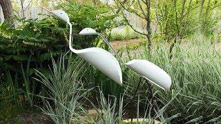 Птицы из пластиковых труб (ПВХ) своими руками. Поделки для дачи и сада