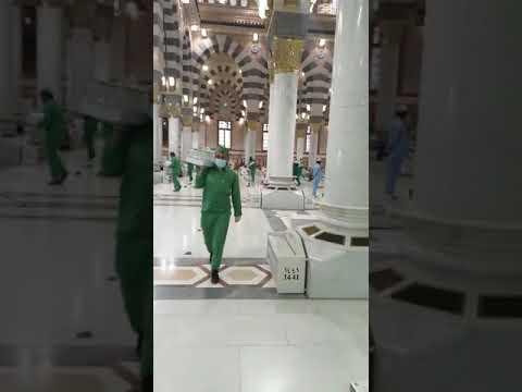 شاهد.. احترافية والتزام عمال المسجد النبوي بالإجراءات الاحترازية عند توزيع وجبات الافطار