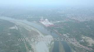 Fly over Yamuna river and Agra's Taj Mahal, in sweeping aerial journey