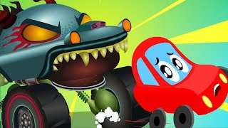 Monster Island | Little Red Car Cartoons | Halloween Videos for Children by Kids Channel