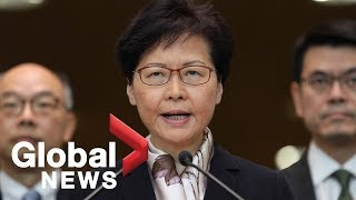 Hong Kong Chief Executive Carrie Lam makes statement over protests