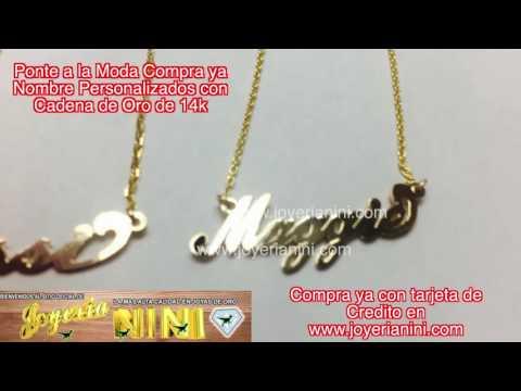 Ponte a la moda con Nombres personalizados con Cadena de Oro 14k