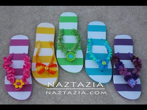 DIY Learn How to Crochet - Flip Flops Sandals Shoes Beach with Beads, Ruffle Yarn, Pom Pom Yarn, Fur