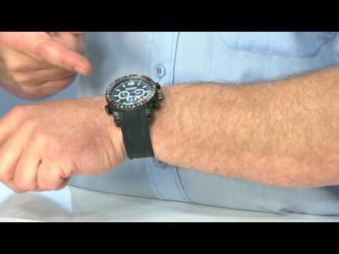 Taucheruhr mit Chronograph bis 100 atm wasserdicht, schwarz