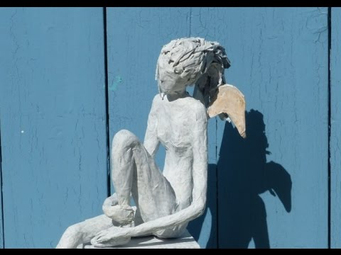 "Alice-ART, ""Waiting for Incarnation"", Engel aus Papier und Kleister, Angel made of  paper"