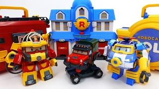 Transforming Police Car Poli Fire Truck Roy Robocar Rescue Station & Transforming Base Playset