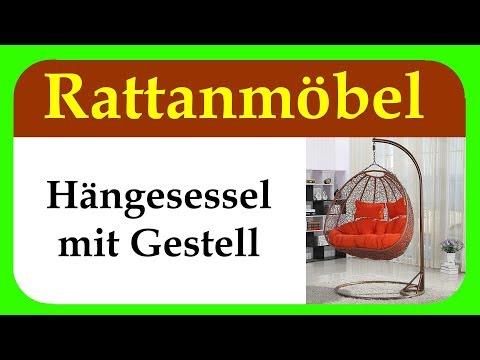 Hängesessel mit Gestell aus Rattan | schöne Hängesessel für Garten und Wohnzimmer