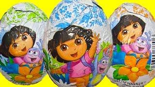 Киндеры Сюрпризы Даша Путешественница,Unboxing Kinder Surprise Eggs Dora the Explorer