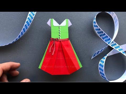 Origami Kleid basteln 👗 Dirndl zum Oktoberfest aus Papier als Deko oder Geschenk