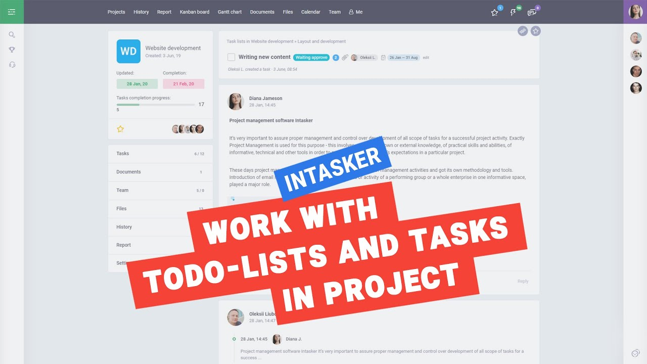 Списки и задачи в проекте