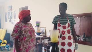 Njugush makes breakfast for his family