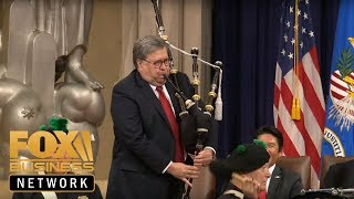 AG Barr plays bagpipes, speaks at US Attorneys' Natl Conference