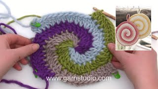 How To Crochet The Pot Holder With Stripes And Spiral In DROPS 170-23